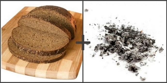 пепел с хлебом при изжоге